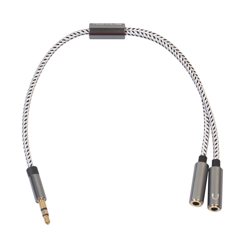 3.5mm Audio Stereo Y Splitter Cable 3.5mm Male to 2-Port 3.5mm Female for Earphone - Gun Grey