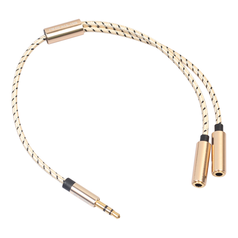 3.5mm Audio Stereo Y Splitter Cable 3.5mm Male to 2-Port 3.5mm Female for Earphone - Golden
