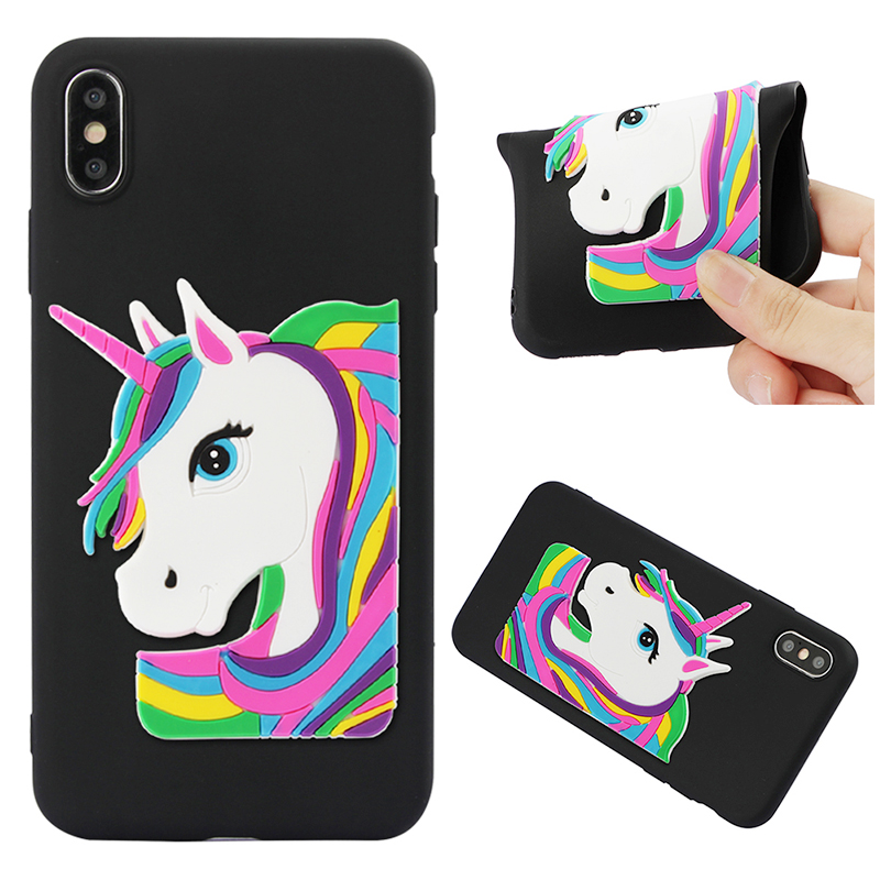 Slim Unicorn Cute Pattern Soft TPU Rubber Shockproof Case Back Cover Shell for iPhone XS Max - Black