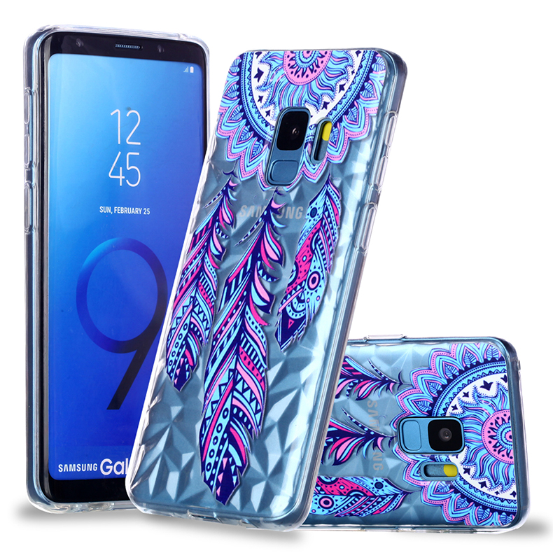 Diamond Texture Pattern Clear TPU Soft Silicone Case Back Cover for Samsung S9 - Blue Feather Wind Chimes