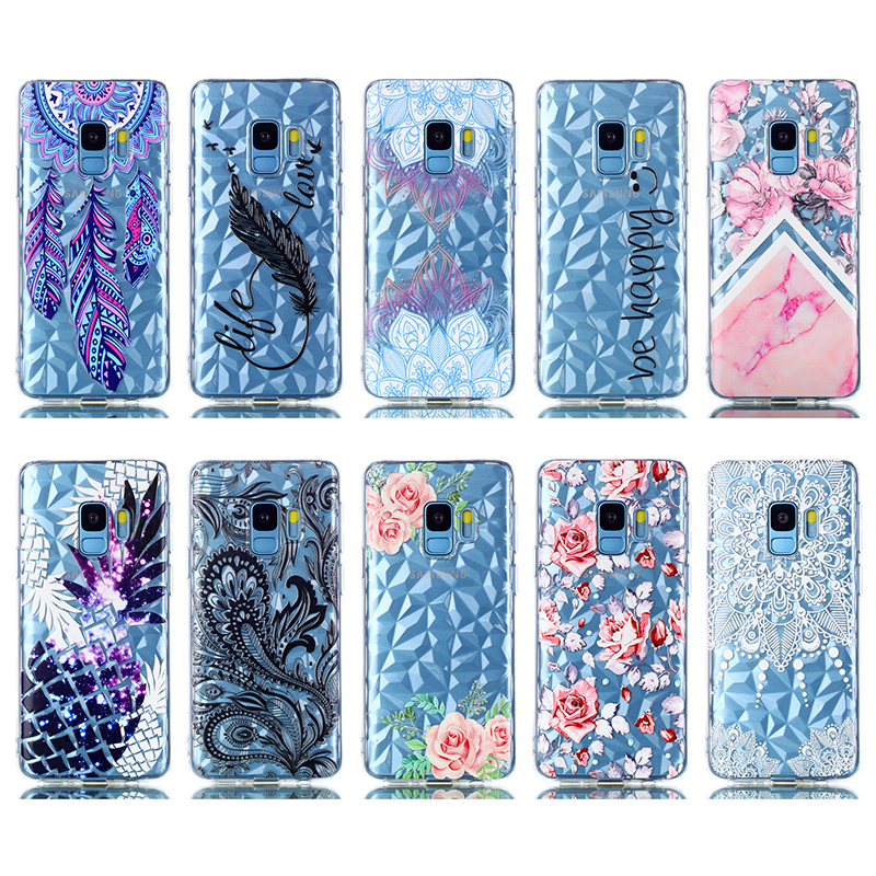 Diamond Texture Pattern Clear TPU Soft Silicone Case Back Cover for Samsung S9 - Feather Pen