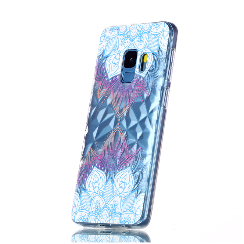 Diamond Texture Pattern Clear TPU Soft Silicone Case Back Cover for Samsung S9 - Blue Leaves