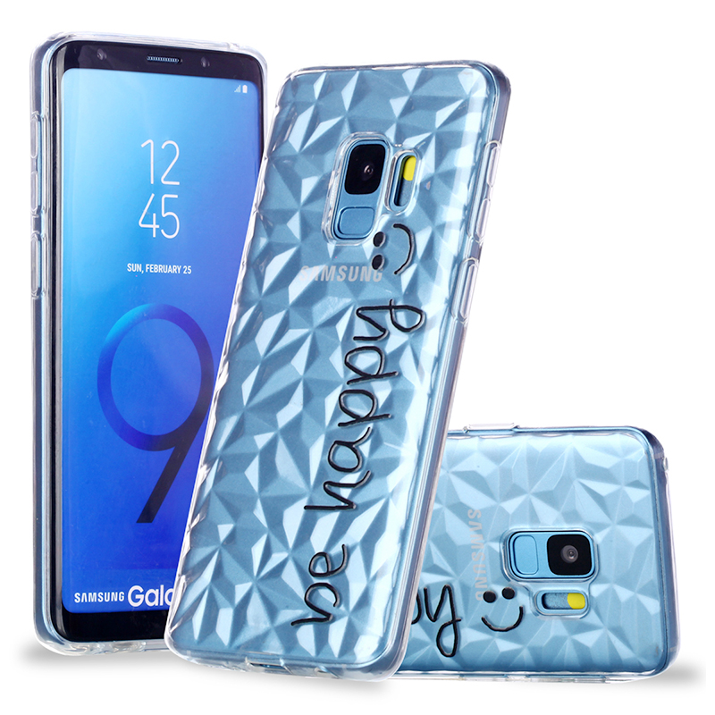 Diamond Texture Pattern Clear TPU Soft Silicone Case Back Cover for Samsung S9 - Be Happy