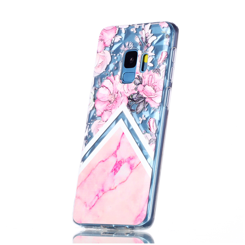 Diamond Texture Pattern Clear TPU Soft Silicone Case Back Cover for Samsung S9 - Marble Flower