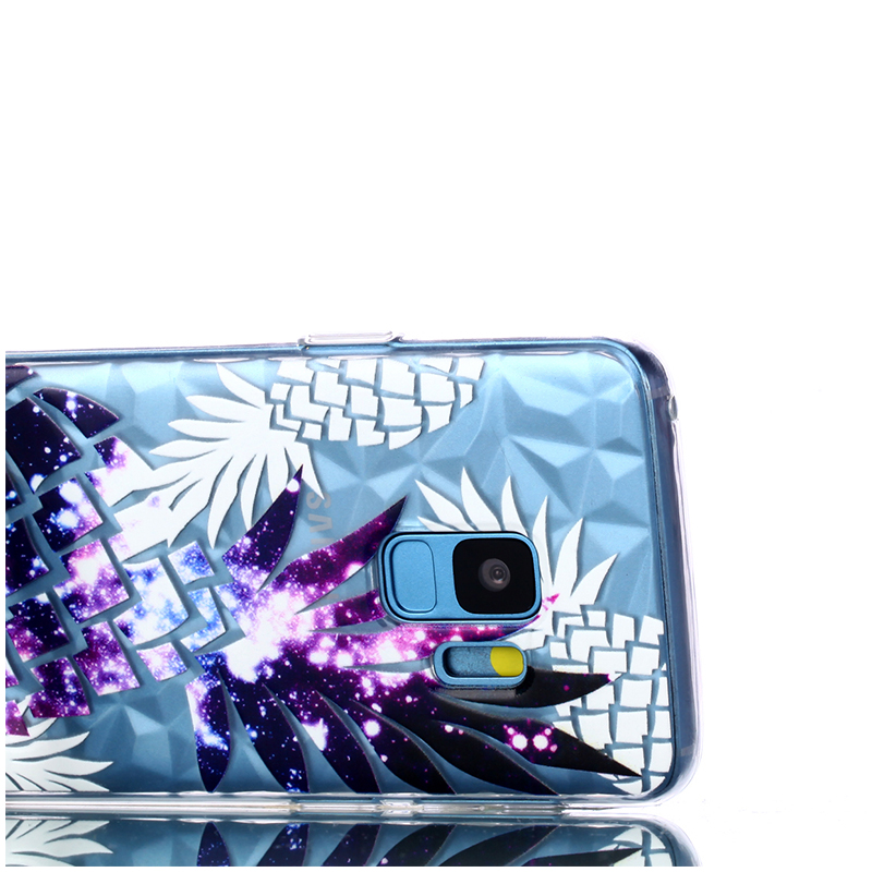 Diamond Texture Pattern Clear TPU Soft Silicone Case Back Cover for Samsung S9 - Color Pineapple