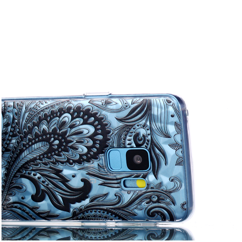 Diamond Texture Pattern Clear TPU Soft Silicone Case Back Cover for Samsung S9 - Phoenix Tail