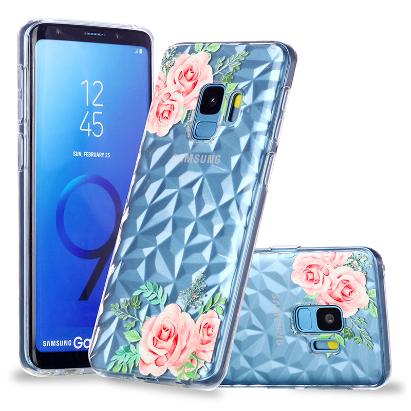 Diamond Texture Pattern Clear TPU Soft Silicone Case Back Cover for Samsung S9 - Green Leaf Flower