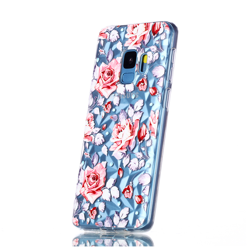 Diamond Texture Pattern Clear TPU Soft Silicone Case Back Cover for Samsung S9 - Broken Powder Flower