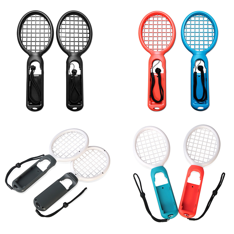 1 Pair Nintend Switch Joy-con ABS Tennis Racket Handle Holder for Nintendo Switch - White Red+White Blue