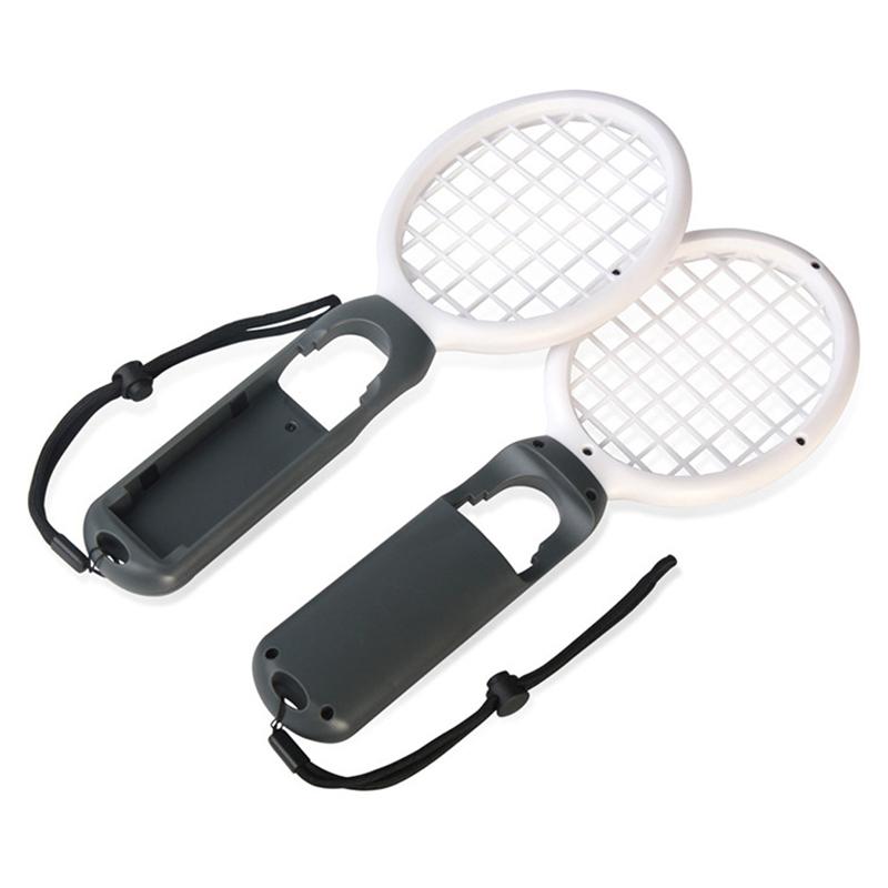 1 Pair Nintend Switch Joy-con ABS Tennis Racket Handle Holder for Nintendo Switch - White Grey+White Grey