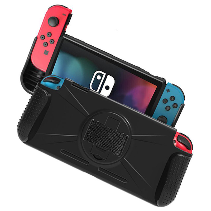 Nintend Switch NS Console TPU Protective Grip Shell Anti-Shock Cover Case with Anti-slip Wristband