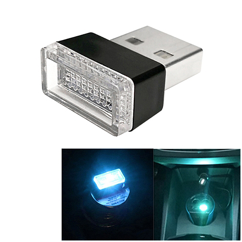 Universal PC Car USB LED Atmosphere Lights Emergency Lighting Decorative Lamp - Ice Blue