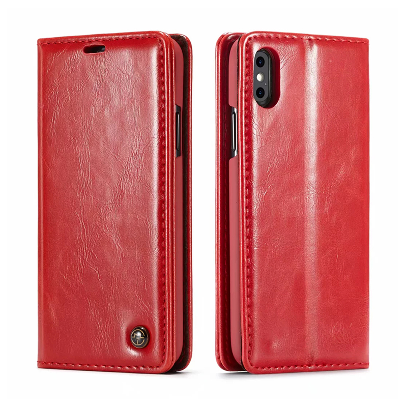 Luxury Retro Magnetic Card Slot Wallet Flip PU Leather Case Cover for iPhone X/XS - Red