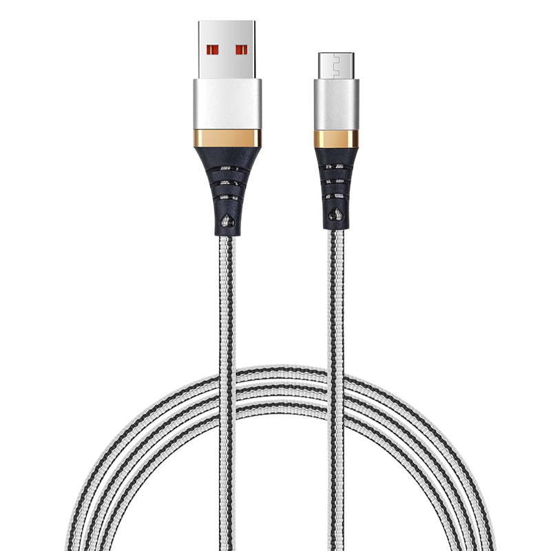 1M Slim Light Woven Braided Micro USB Charging Data Cable Cord - White+Black