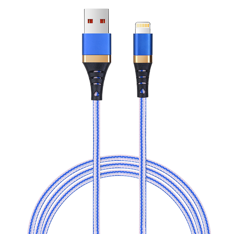 1M High Quality Braided Lightning Charging Data Cable Cord Wire for iPhone iPad - White+Blue