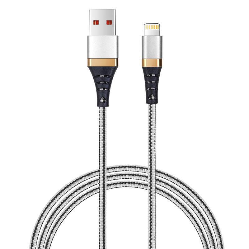 1M High Quality Braided Lightning Charging Data Cable Cord Wire for iPhone iPad - White+Black