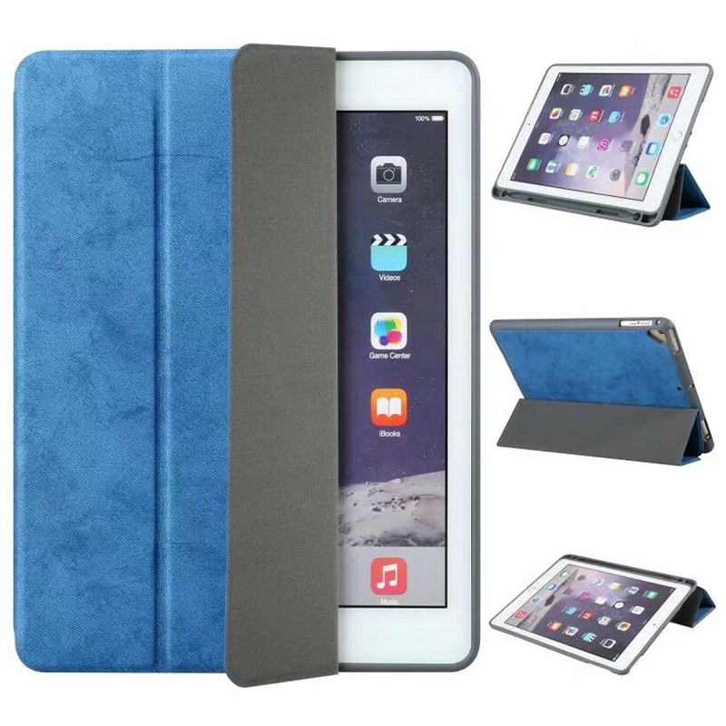Ultra-Thin Universal Soft PU Leather Stand Cover Case With Pen Slot for iPad 2018 2017 9.7 - Blue