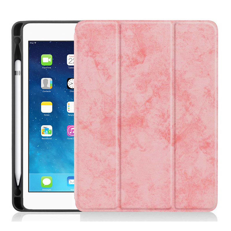 Ultra-Thin Universal Soft PU Leather Stand Cover Case With Pen Slot for iPad 2018 2017 9.7 - Pink
