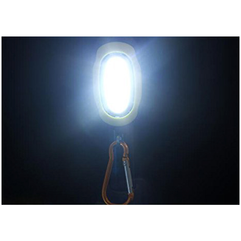 Portable COB Lamp LED Light Flashlight with Key Chain for Camping Hiking - Yellow