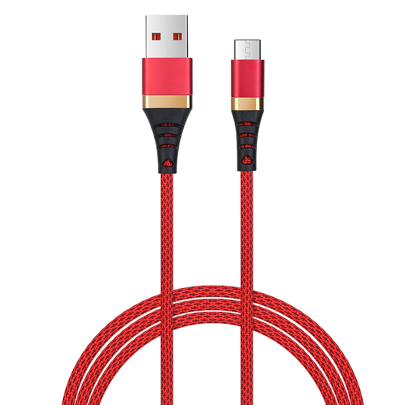 1m Micro USB Sync Data Charger Android V8 High Quality Braided Cable - Red