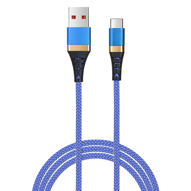 1m Micro USB Sync Data Charger Android V8 High Quality Braided Cable - Blue