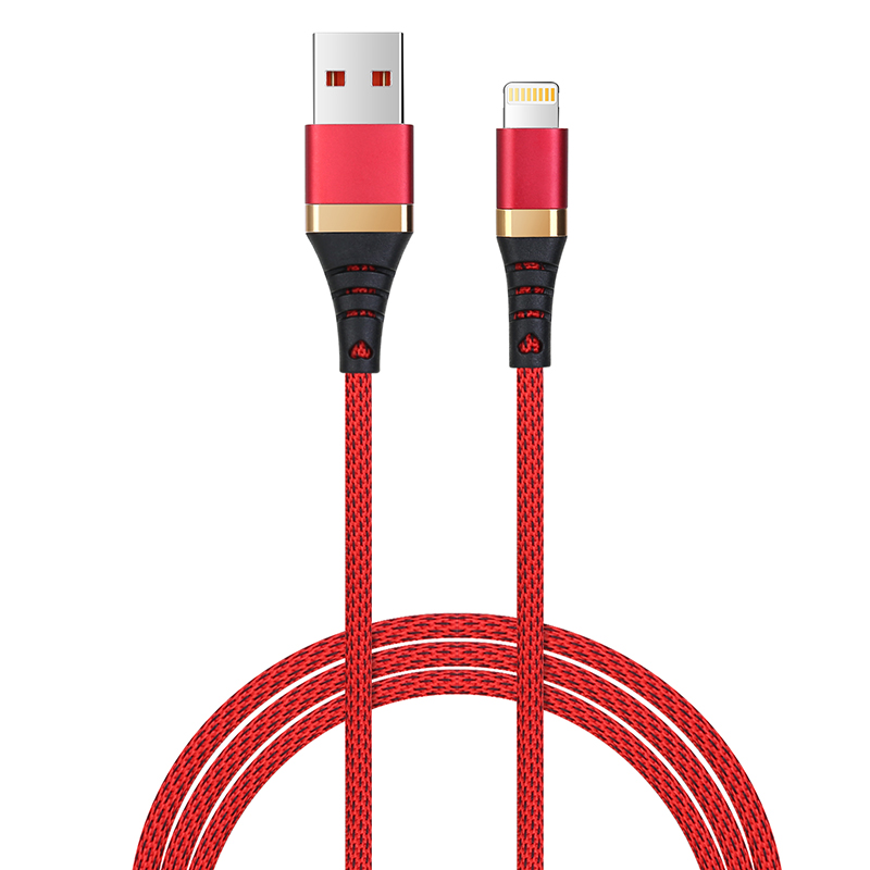 1m High Quality Braided Woven Cable Lightning Charger for iPhone 7/8/X/XS/XR - Red