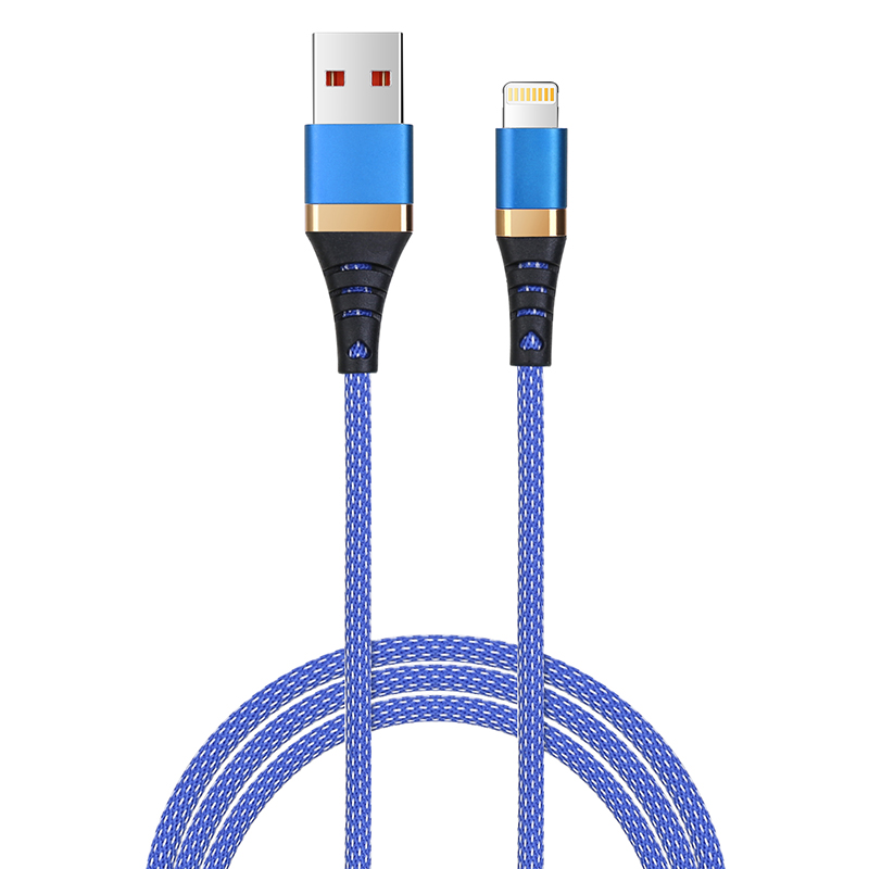 1m High Quality Braided Woven Cable Lightning Charger for iPhone 7/8/X/XS/XR - Blue
