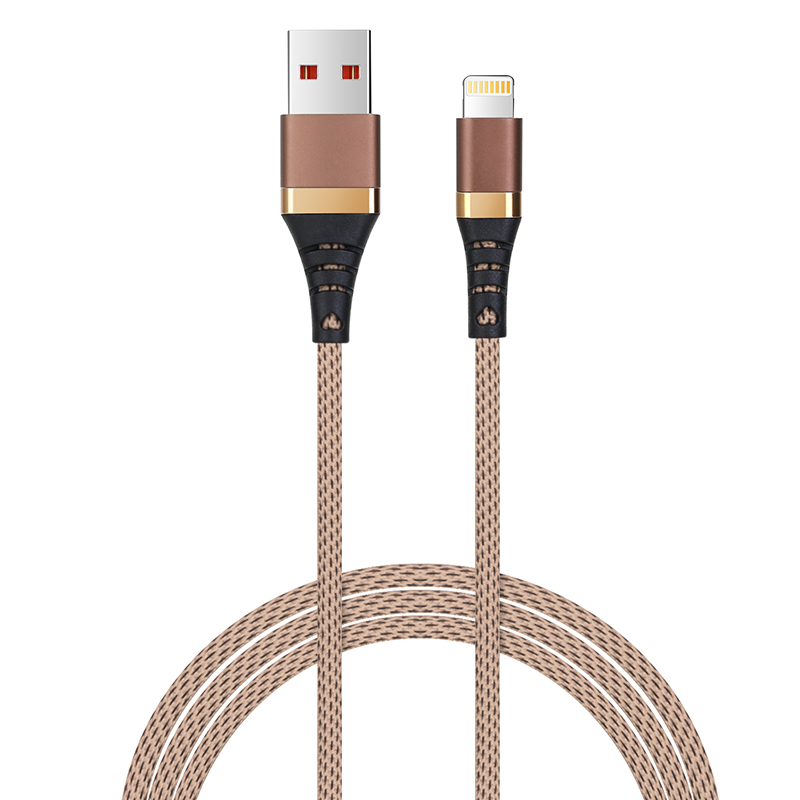 1m High Quality Braided Woven Cable Lightning Charger for iPhone 7/8/X/XS/XR - Brown