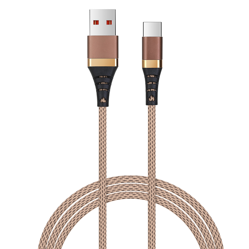 1m High Quality Type C Braided Cable USB-C Charge Cable for Samsung Huawei - Brown