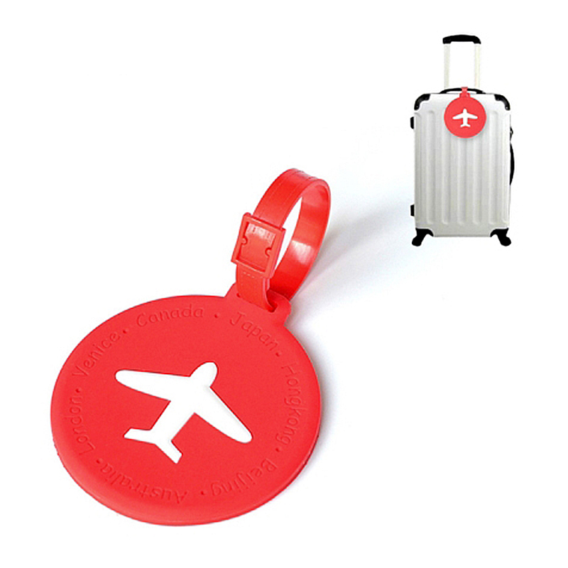 Round Plastic Suitcase Luggage ID Tags Labels Bag Identification Travel - Red