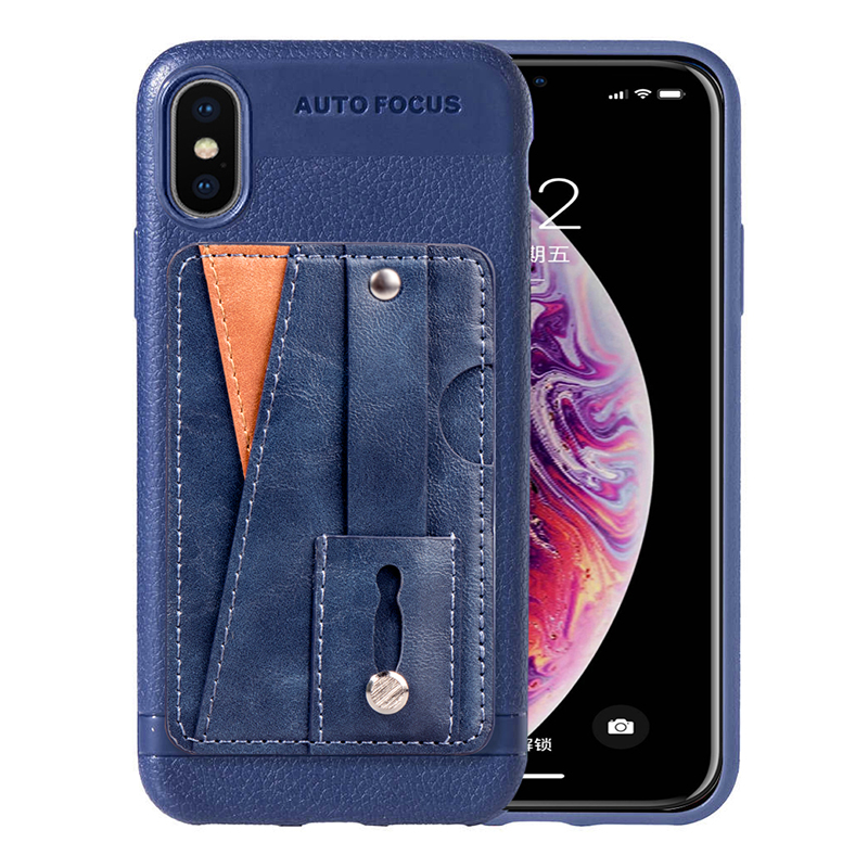 Leather Thin Light Business Cellphone Cover Case with Card Slot Case for iPhone X/XS - Blue