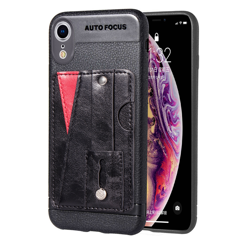 Soft Leather Cellphone Case Card Holder with Phone Ring Stand Light Case for iPhone XR - Black