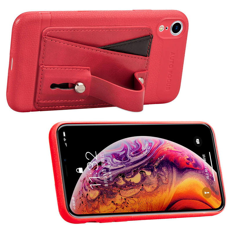 Soft Leather Cellphone Case Card Holder with Phone Ring Stand Light Case for iPhone XR - Red