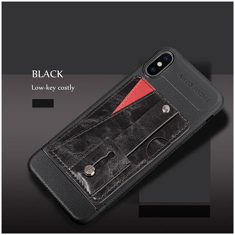 PU Leather Case Card Slot Flip Stand Shockproof Back Cover for iPhone XS MAX - Black