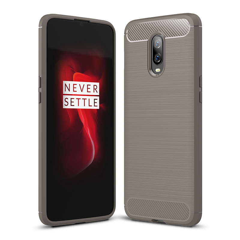 OnePlus 6T TPU Bumper Case Carbon Fiber Back Cover Protector Cellphone Shell-Gray