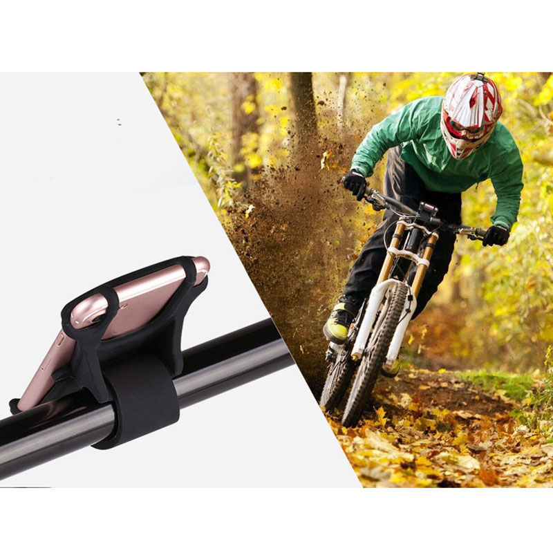 Silicone Bicycle Bracket Motorcycle Stationary Bike Mount Cellphone Holder Handlebar Cradle - Black