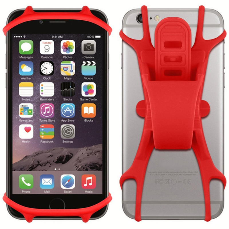 Silicone Bicycle Bracket Motorcycle Stationary Bike Mount Cellphone Holder Handlebar Cradle - Red