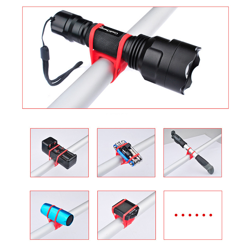 Elastic Bike Flashlight Bandage Bicycle Drink Holder Handlebar Cycling Tie Rope Riding Pump Bottle Strap - Random Color