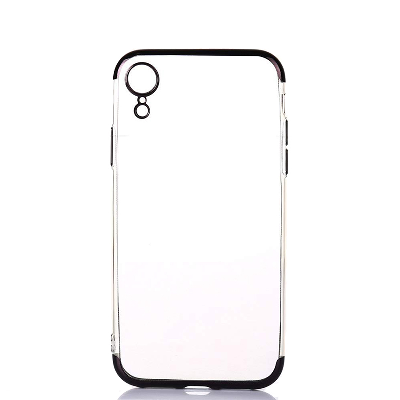 Ultra Thin TPU Soft Cellphone Case Transparent Cover with Colorful Frame for iPhone XR-Black
