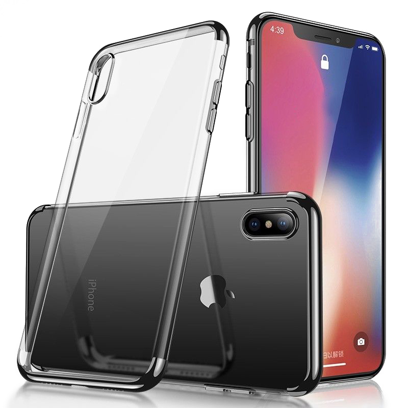 6.5 inch TPU Soft Cellphone Case Transparent Clear Back Cover for iPhone XS Max - Black