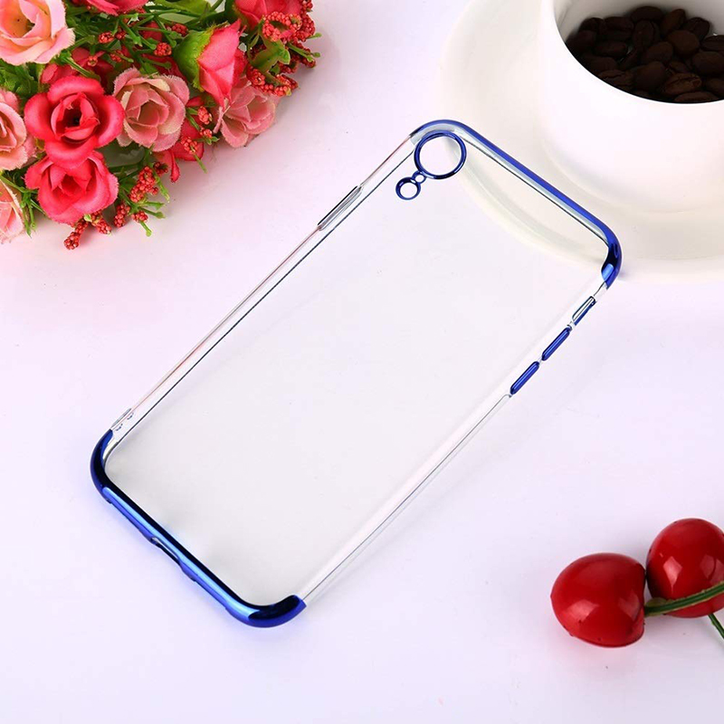 Ultra Thin TPU Soft Cellphone Case Transparent Cover with Colorful Frame for iPhone XR-Blue