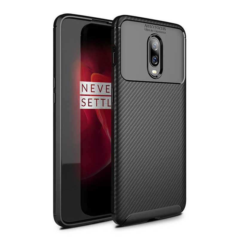 Full Wrapped Carbon Fibre Soft TPU Cellphone Case Cover Silicone Thin For OnePlus 6T - Black