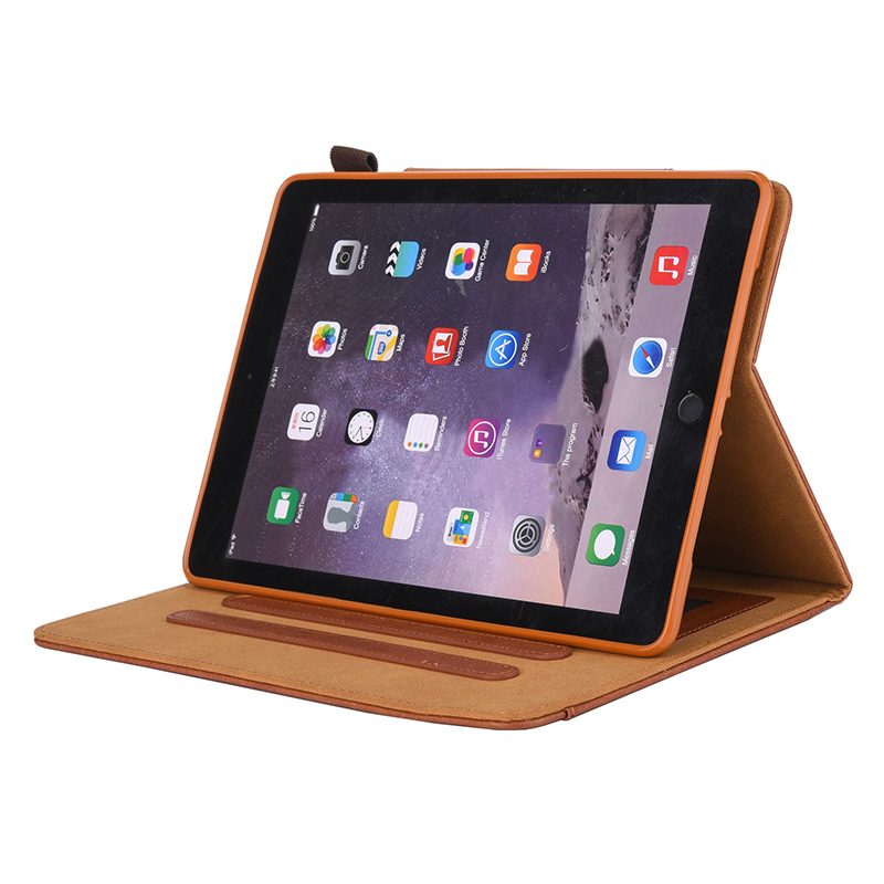 PU Leather Vintage 9.7 inch Case for IPAD5 6 7 8 9 Solid Color Protective Filp Cover Case - Brown