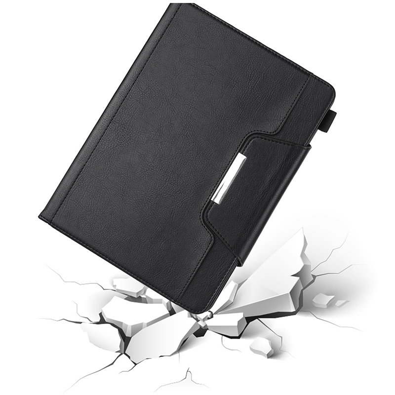 PU Leather Vintage 9.7 inch Case for IPAD5 6 7 8 9 Solid Color Protective Filp Cover Case - Black