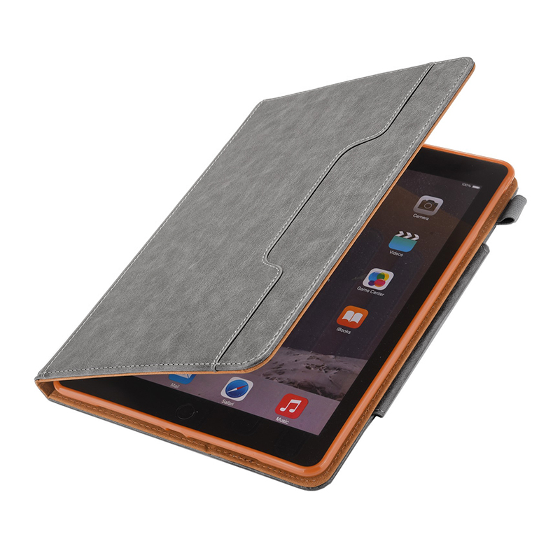 PU Leather Vintage 9.7 inch Case for IPAD5 6 7 8 9 Solid Color Protective Filp Cover Case - Gray