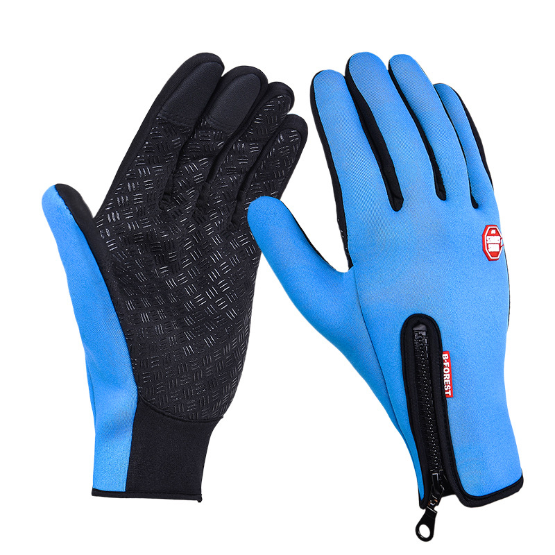Women Men Ski Gloves Snowboard Winter Motorcycle Riding Camping Leisure Mittens Size S - Blue