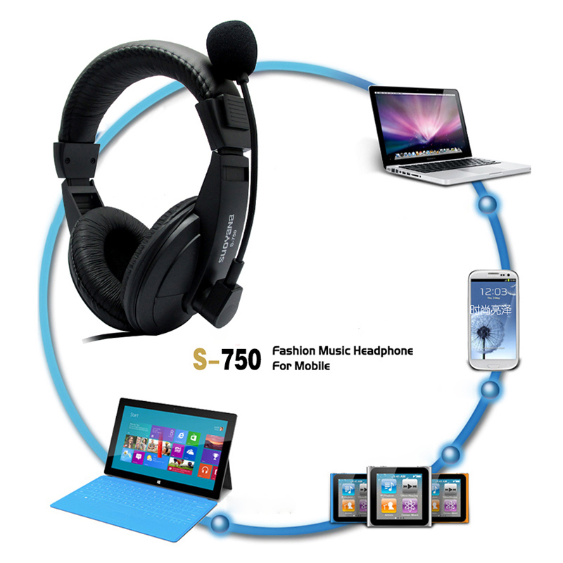 Gaming Stereo Earphone On Ear Headphones Headsets Mic Wired for Computer - Black