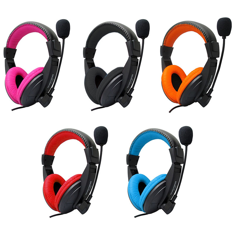 Gaming Stereo Earphone On Ear Headphones Headsets Mic Wired for Computer - Blue