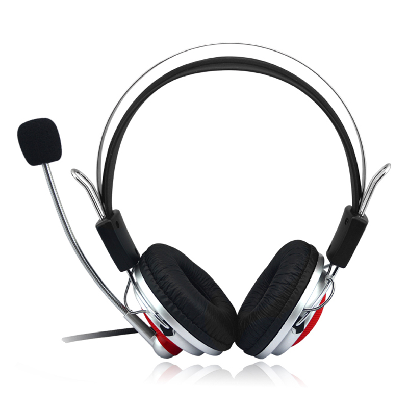 3.5mm Adjustable Gaming Headphones Stereo Noise-canceling Computer Headset - Red