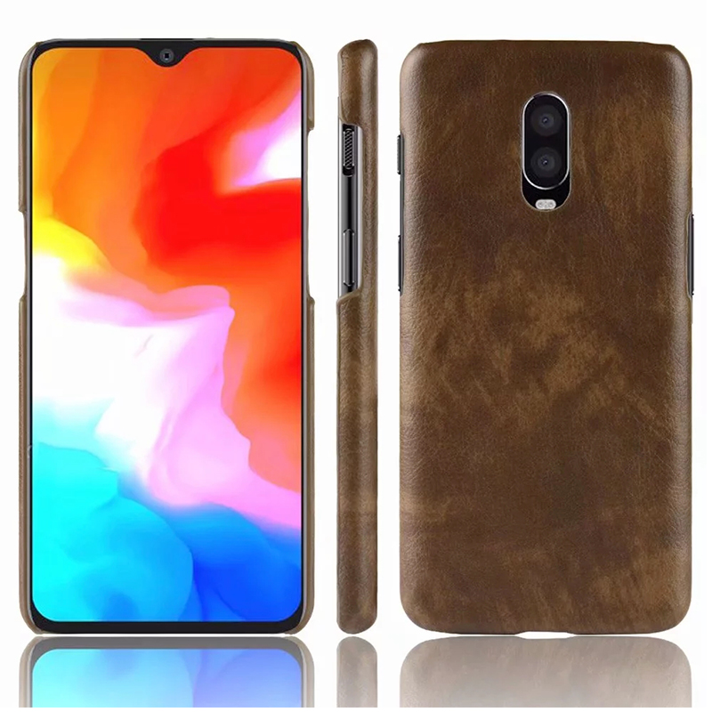 Luxury Matte Litchi Hard PC Case Back Cover for OnePlus 6T - Brown